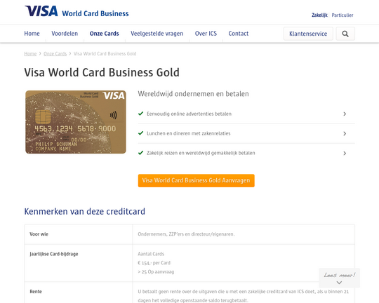 Visa World Card Business Gold Logo